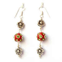 Handmade Earrings having Red Beads with Green Rhinestones