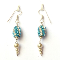 Handmade Earrings having Blue Beads with White & Aqua Rhinestones