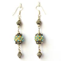 Handmade Earrings having Yellow Beads with Aqua Rhinestones