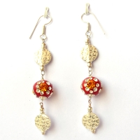 Handmade Earrings having Red Beads with Rhinestones
