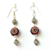 Handmade Earrings having Black Beads with Metal Rings & Red Chains