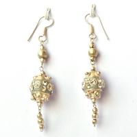 Handmade Earrings having Gray Beads with White Rhinestones