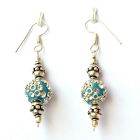 Handmade Earrings having Blue Beads with White Rhinestones