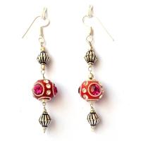 Handmade Earrings having Red Beads with Metal Rings & Rhinestones