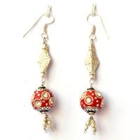 Handmade Earrings having Red Beads with Metal Rings & White Rhinestones