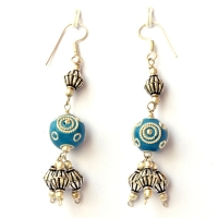 Handmade Earrings having Blue Beads with Metal Rings & Balls