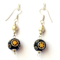 Handmade Earrings having Black Beads with Metal Rings & Flowers