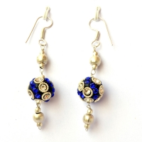 Handmade Earrings having Black Beads with White & Blue Rhinestones