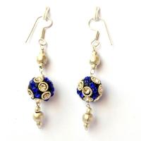 Handmade Earrings having Black Beads with White & Blue Rhinestones