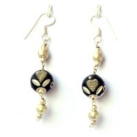 Handmade Earrings having Black Beads with Metal Hearts & Accessories