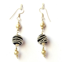 Handmade Earrings having Black Beads with Metal Chains