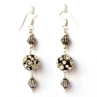 Handmade Earrings having Black Beads with Metal Rings & Rhinestones