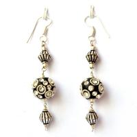 Handmade Earrings having Black Beads with Metal Rings & Rhinestones
