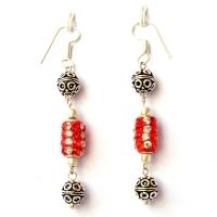 Handmade Earrings having Red Beads with White & Red Rhinestones
