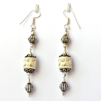 Handmade Earrings having White Glitter Beads with Rhinestones