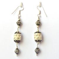 Handmade Earrings having White Glitter Beads with Rhinestones