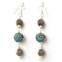 Handmade Earrings having Blue Beads with Silver Plated Rings & Balls