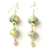 Handmade Earrings having Disc Shaped Pale Turquoise Color Beads