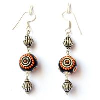 Handmade Earrings having Black Beads with Orange Chains