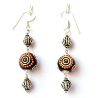 Handmade Earrings having Black Beads with Orange Chains