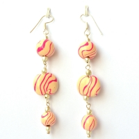 Handmade Earrings with Pink & Cream Color Beads