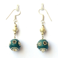Handmade Earrings having Blue Beads with Metal Rings & Flowers