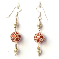 Handmade Earrings having Shining Copper Beads with Mirror Chips