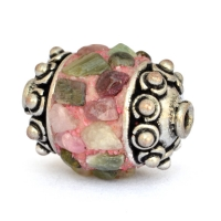 Cylindrical Beads Studded with Multi Color Tourmaline