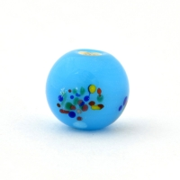 Blue Glass Beads with Multicolor Dots