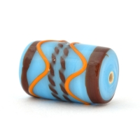 Blue Glass Beads with Brown & Orange Stripes