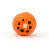 Orange Glass Beads with Black & White Dots