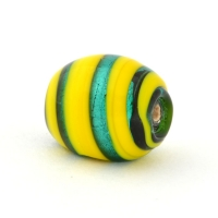 Barrel Shaped Yellow with Silver Foil Glass Beads