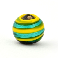 Round Yellow with Silver Foil Glass Beads