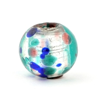 Transparent Round Glass Beads with Multicolor Spots