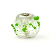 Round Transparent Glass Beads with Green Spikes
