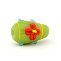 Green Glass Beads with Red Flower Design