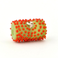 Green Glass Beads with Red Spikes