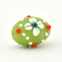 Barrel Shaped Green Glass Beads with White Flower Design