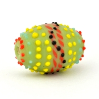 Barrel Shaped Green Glass Beads with Multicolor Spikes
