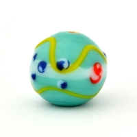 Turquoise Color Round Glass Beads with Red & Blue Dots