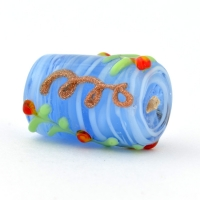 Blue Cylindrical Glass Beads with Embossed Red Flowers & Leafs