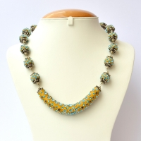 Handmade Yellow Necklace Studded with Metal Flowers & Rhinestones
