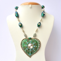 Handmade Teal Glitter Necklace with Metal Flowers & Rhinestones