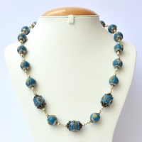 Handmade Blue Necklace Studded with Metal Hearts & Flowers