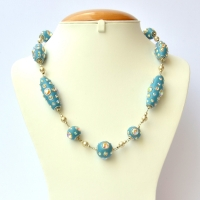 Blue Handmade Necklace Studded with Rainbow Rhinestones