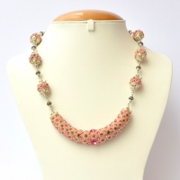 Pink Handmade Necklace Studded with Metal Flowers & Rhinestones