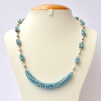Blue Handmade Necklace Studded with White + Aqua Rhinestones