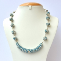 Blue Handmade Necklace Studded with Metal Rings & Rhinestones