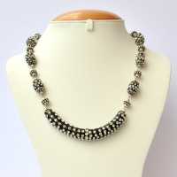 Black Handmade Necklace Studded with Seed Beads & Rhinestones