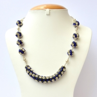 Black Handmade Necklace Studded with White + Blue Rhinestones